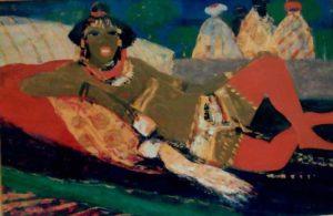 S. Fiume, Modella calze rosse, olio su masonite cm 36x54 anni 70