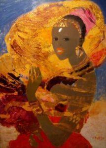 S. Fiume, Somala al vento, olio su damasco, cm 70x50
